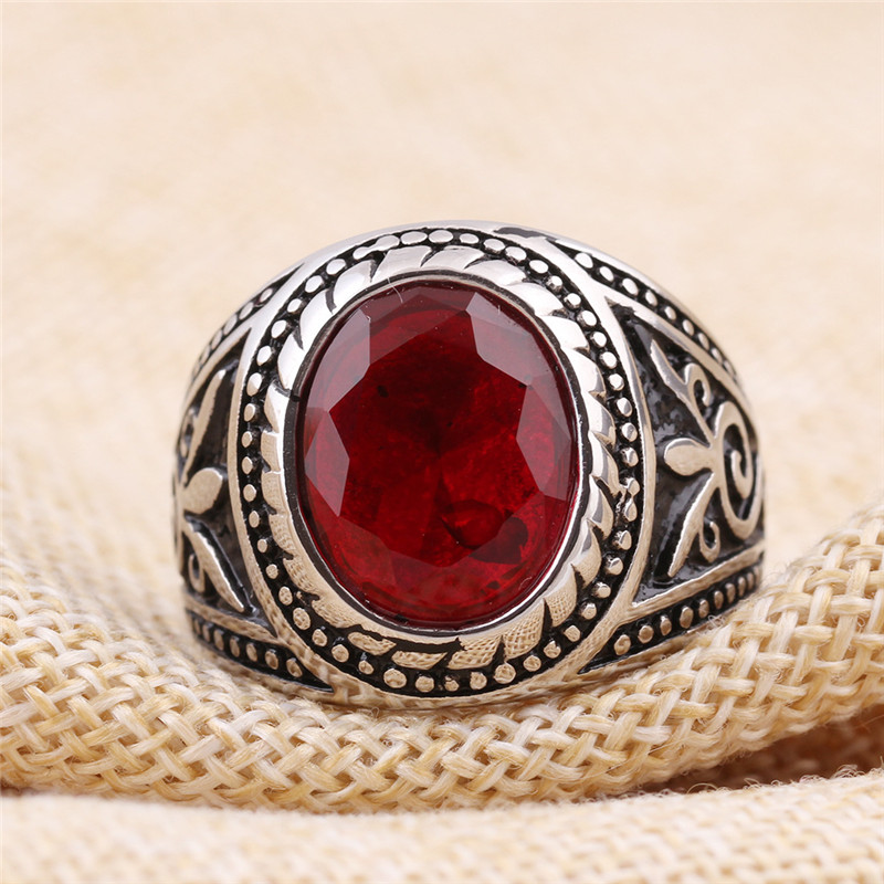 Vintage Red Stone Ring Aesir Design